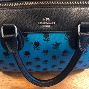 Coach Bag - Blue with Black Roses